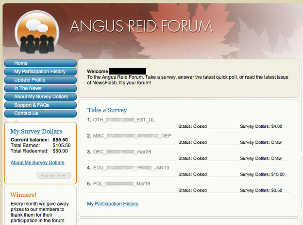 angus reid account screenshot