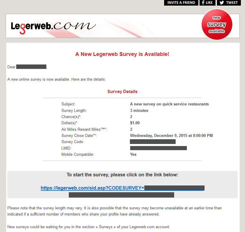 Legerweb email survey