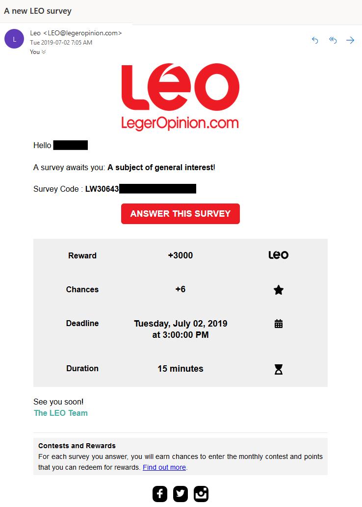 LEO email survey