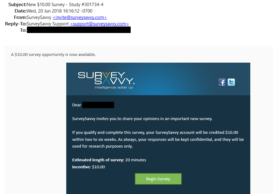 SurveySavvy $10 e-mail invitation